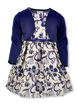 Floral Scroll Dress with Shrug by Sweet Heart Rose in Navy