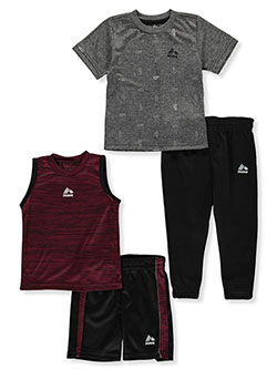 Sneaker Print 4-Piece Shorts and Pants Sets Outfits by RBX in Wine