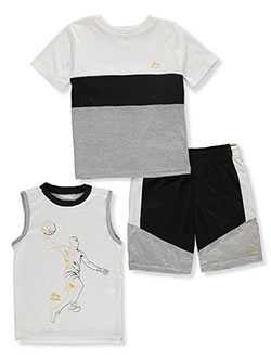 Basketball Paneled 3-Piece Shorts Set Outfit by RBX in Gray
