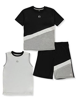 Boys' Angle Stripe 3-Piece Shorts Set Outfit by RBX in Black