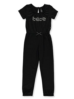 Girls' Gem Logo Jumpsuit by Bebe in Black