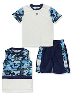 Camo Trim 3-Piece Mix-and-Match Shorts Set Outfit by RBX in Blue