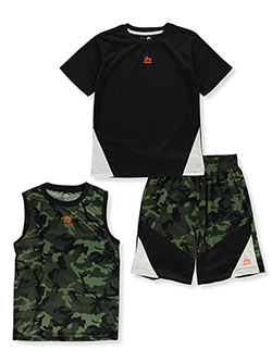 Camo Angle 3-Piece Mix-and-Match Shorts Set Outfit by RBX in Green camo, Boys Fashion