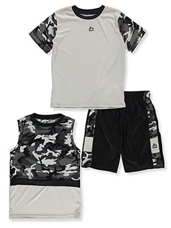 Camo Trim 3-Piece Mix-and-Match Shorts Set Outfit by RBX in Gray, Boys Fashion
