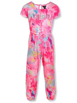 Girls' Allover Print Gem Logo Jumpsuit by Bebe