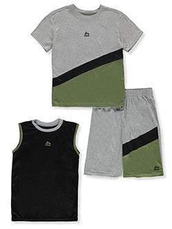 Boys' Angle Stripe 3-Piece Shorts Set Outfit by RBX in Gray