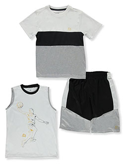 Boys' Paneled 3-Piece Shorts Set Outfit by RBX in Gray