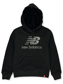 Girls' Foil Logo Pullover Hoodie by New Balance in Black