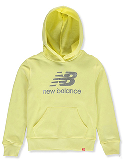 Girls' Foil Logo Pullover Hoodie by New Balance in Yellow