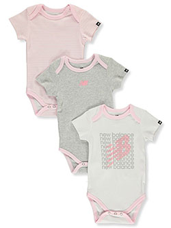 Baby Girls' 3-Pack Bodysuits by New Balance in Pink