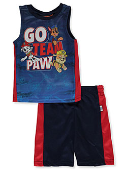 Team Paw 2-Piece Shorts Set Outfit by Paw Patrol in Navy/red, Sizes 2T-4T