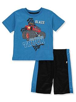 2-Piece Shorts Set Outfit by Blaze And The Monster Machines in Blue/black, Sizes 2T-4T