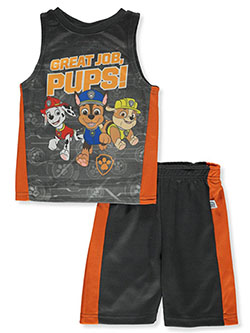 Boys' 3-Piece Shorts Set outfit by Paw Patrol in Charcoal/orange, Sizes 4-7