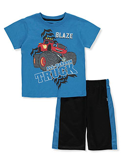 2-Piece Shorts Set Outfit by Blaze And The Monster Machines in Blue, Sizes 4-7
