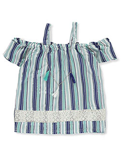 d1964f99ef8ce Girls' Cold Shoulder Top with Necklace by Dream Star in blue and pink