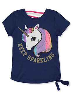 Girls' Keep Sparkling Top by Dream Star in navy/multi and white/multi