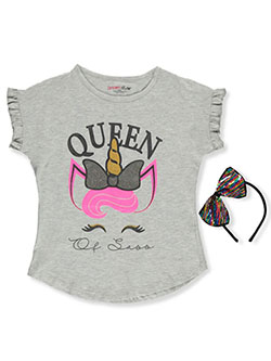 Girls' Queen of Sass Top with Headband by Dream Star in gray multi and pink/multi