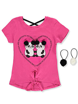 Girls' Panda Top with Hair Elastics by Dreamstar in Fuchsia/multi