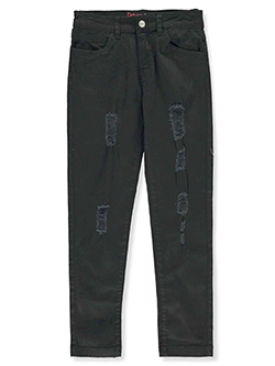 Girls' Rip Design Twill Pants by Dreamstar in Black