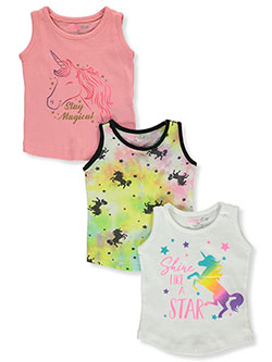 Girls' 3-Pack Unicorn Tank Tops by Dreamstar in White/multi