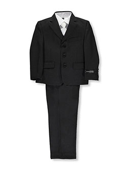 "Little Boys' ""Power Play"" 5-Piece Suit by Kids World in Black"