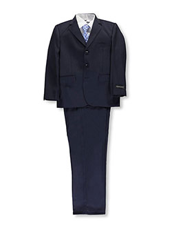 "Big Boys' Husky ""C-Suite"" 5-Piece Suit by Kids World in Navy"