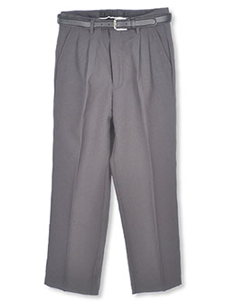 Husky Pleated Belted Dress Pants by Vittorino in Charcoal gray