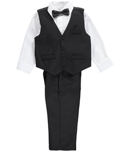 Little Boys' Toddler 4-Piece Vest Set by Vittorino in Black
