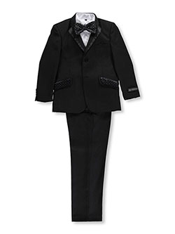 "Big Boys' ""Ginsome"" 5-Piece Suit by Kids World in Black, Boys Fashion"