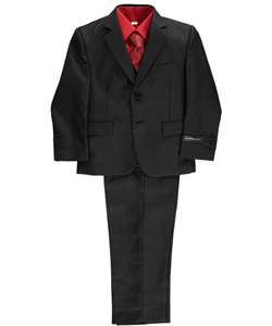 "Little Boys' ""Cambria"" 5-Piece Suit by Kids World in Black"