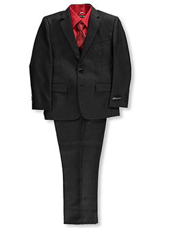 "Big Boys' ""Cambria"" 5-Piece Suit by Kids World in Black"