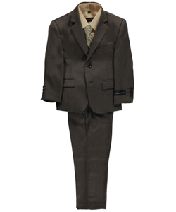 "Big Boys' ""Burnham"" 5-Piece Suit by Kids World in Brown"