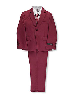 "Little Boys' ""Marlowe"" 5-Piece Suit by Kids World in Burgundy"