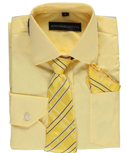 Big Boys' Dress Shirt with Accessories by Kids World in Yellow