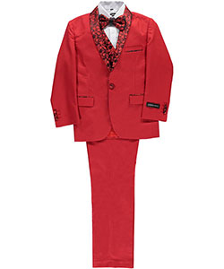 "Big Boys' ""Winthrop"" 5-Piece Suit by Kids World in Red"