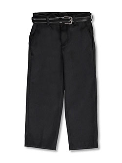 Flat Front Belted Dress Pants by Vittorino in Black