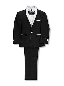Little Boys' 5-Piece Tuxedo by Kids World in Black/white