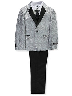 Boys' 5-Piece Suit Pants Set by Kids World in Silver