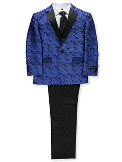 Boys' Brocade Swirl 5-Piece Suit by Kids World in Royal blue