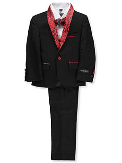 Boys' 5-Piece Suit Pants Set by Kids World in Black/red