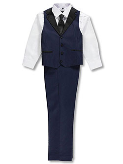 Boys' 4-Piece Vest Set by Kids World in Navy