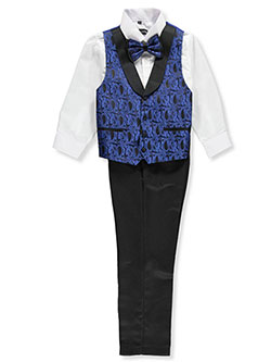 Boys' 4-Piece Vest Set by Kids World in Royal blue