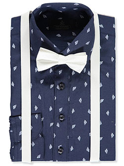 Boys' Dress Shirt with Accessories by Vittorino in Navy/white