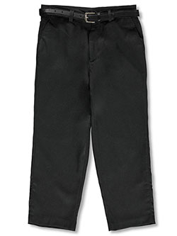 Boys' Husky Belted Flat Front Pants by Vittorino in Charcoal
