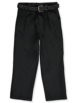 Boys' Flat Front Belted Dress Pants by Vittorino in Dark blue