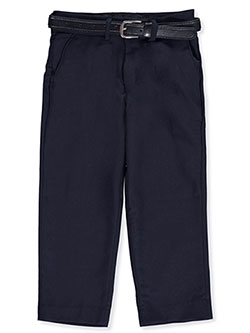 Subtle Stripe Belted Dress Pants by Alberto Danelli in Navy, Boys Fashion