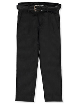 Textured Stripe Belted Dress Pants by Alberto Danelli in Black, Boys Fashion