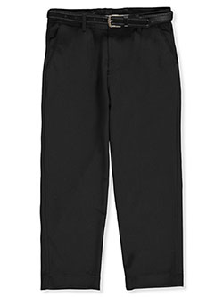 Husky Size Belted Dress Pants by Alberto Danelli in Black
