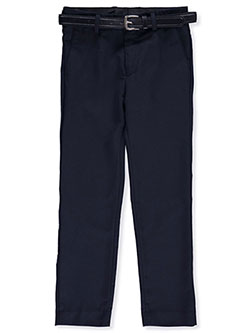 Subtle Stripe Skinny Belted Dress Pants by Alberto Danelli in Navy