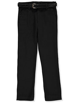 Skinny Fit Belted Dress Pants by Alberto Danelli in Black, Boys Fashion